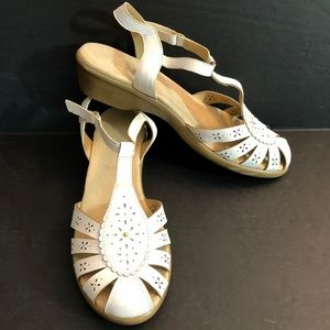Ramanda White Leather T-Strap Slingback Sandals